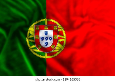 Portugal stylish waving and closeup flag illustration. Perfect for background or texture purposes.