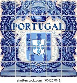 Portugal symbol Portuguese ceramic tiles lapis blue illustration
