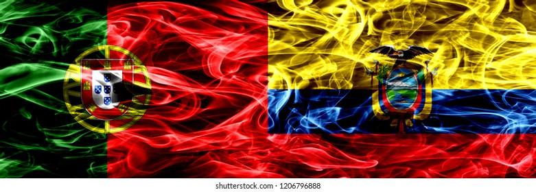 Portugal vs Ecuador, Ecuadorian smoke flags placed side by side. Thick colored silky smoke flags of Portuguese and Ecuador, Ecuadorian