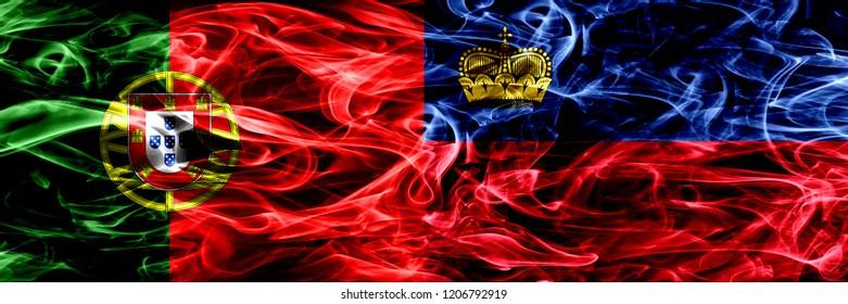 Portugal vs Liechtenstein, Liechtensteins smoke flags placed side by side. Thick colored silky smoke flags of Portuguese and Liechtenstein, Liechtensteins