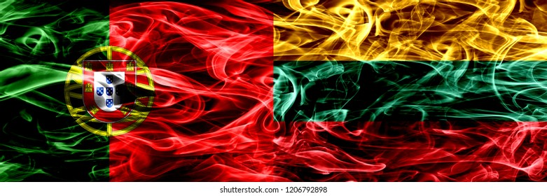 Portugal vs Lithuania, Lithuanian smoke flags placed side by side. Thick colored silky smoke flags of Portuguese and Lithuania, Lithuanian