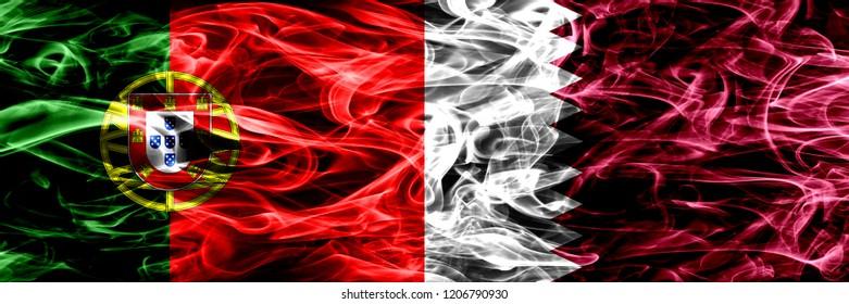 Portugal vs Qatar, Qatari smoke flags placed side by side. Thick colored silky smoke flags of Portuguese and Qatar, Qatari