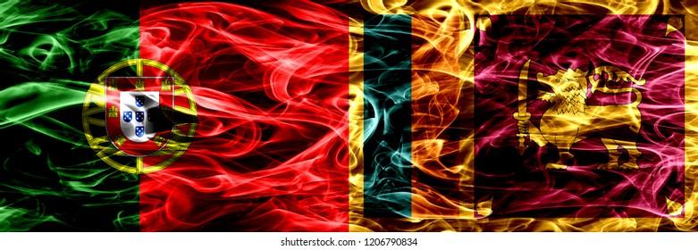 Portugal vs Sri Lanka, Sri Lankan smoke flags placed side by side. Thick colored silky smoke flags of Portuguese and Sri Lanka, Sri Lankan