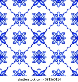Portuguese azulejo tiles. Blue and white gorgeous seamless patterns. For scrapbooking, wallpaper, cases for smartphones, web background, print, surface texture, pillows, towels, linens, bags, T-shirts