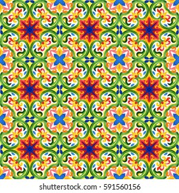 Portuguese azulejo tiles. Green gorgeous seamless patterns. For scrapbooking, wallpaper, cases for smartphones, web background, print, surface texture, pillows, towels, linens, bags, T-shirts
