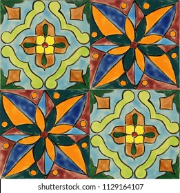 Portuguese azulejo tiles, mexican talavera, italian or spanish majolica. Vintage tiled floor print for ceramic or fabric design.
