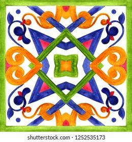 Portuguese azulejo tiles. Watercolor seamless patterns, prints