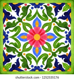Portuguese azulejo tiles. Watercolor seamless patterns, prints