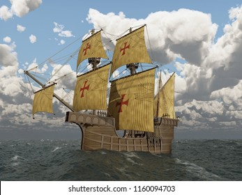 Portuguese caravel of the fifteenth century Computer generated 3D illustration