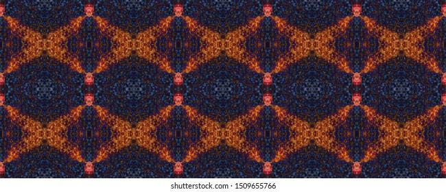 Portuguese Decorative Tiles. Mexican Illustration. Portuguese Decorative Tiles Background. Boho Symmetry Motif. Watercolor Ornate. Ethnic Fabric Symmetry