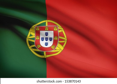 Portuguese flag blowing in the wind. Part of a series.