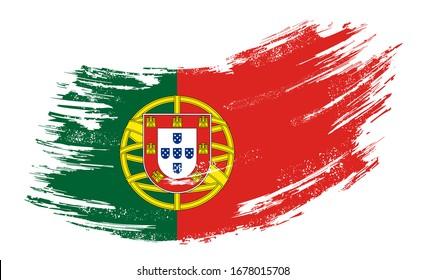 Portuguese flag brush stroke grunge background. Raster version.