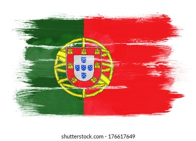 The Portuguese flag painted on white paper with watercolor
