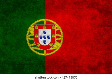 Portuguese national flag with a vintage textured treatment