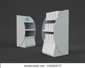 POS Display. Blank Product/Stand On Black Background. 3D render