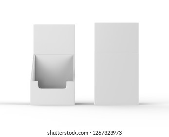 POS POI Cardboard Blank Empty Display Show Box Holder mock up template isolated on white background, 3d illustration.