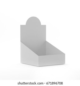 POS POI Cardboard Blank Empty Display Show Box Holder For Advertising, Leaflets, Products Mock Up Template On Isolated White Background. Ready For Your Design. 3D Illustration