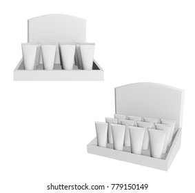 POS POI Cardboard Display with tube Show Box Holder For Advertising Fliers, Leaflets, Products. 3d Illustration Isolated On White Background. Mock Up Template Ready For Your Design.