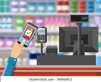 Pos terminal confirms payment by smartphone. Supermarket interior. Cashier counter workplace. Shelves with products. Cash register and keypad. illustration in flat style Raster version
