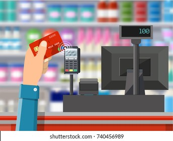 Pos terminal confirms payment by bank card. Supermarket interior. Cashier counter workplace. Shelves with products. Cash register and keypad. illustration in flat style Raster version