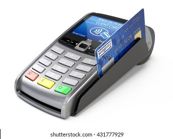 POS Terminal with credit card isolated on a white background. 3d render
