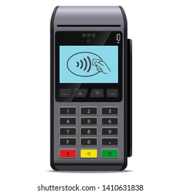 POS terminal or Payment terminal wireless realistic style icon concept of contactless payments for purchases in the store isolated. Mobile phone nfc or credit card cashless payment method.