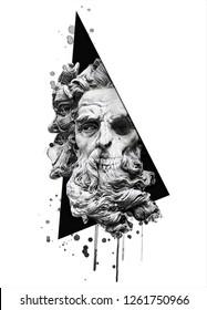 Poseidon art illustration.Watercolor skull print.Mythology character drawn in engraving style.T-shirt graphics for men.Black white artwork.