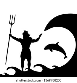 Poseidon Neptunus god silhouette ancient mythology fantasy. JPG illustration.