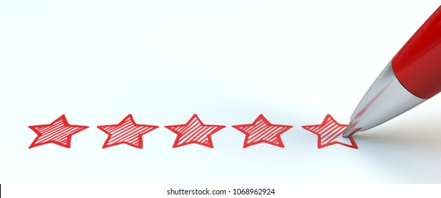 Positive feedback concept. Red pen draw five stars. 3d illustration