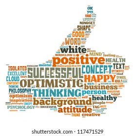 Positive info-text graphics arrangement concept composed in thumb up shape on white background