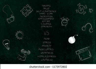 positive and negative attitude conceptual illustration: list of happy and stressed attitudes with dreams and fears icons