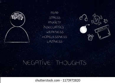 positive and negative attitude conceptual illustration: person's with gearwheel thoughts next to list of stressed attitudes and fear-themed icons