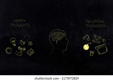 positive and negative attitude conceptual illustration: happy and stressed thoughts with dreams and fears icons and person's mind in between