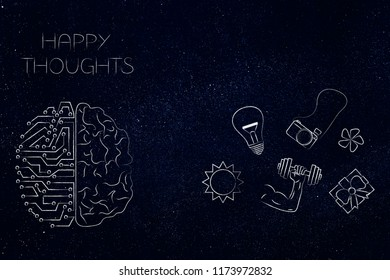 positive and negative attitude conceptual illustration: circuit and human brain with happy thoughts next to dream-themed icons
