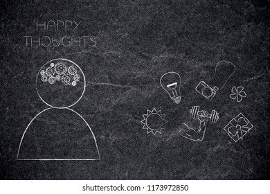 positive and negative attitude conceptual illustration: person with gearwheel mind and happy thoughts next to dream-themed icons