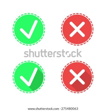 Positive Negative Check Mark Icons 2 D Stock Illustration 275480063