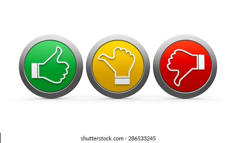 Positive, neutral and negative icons isolated on white background - represents customer satisfaction and feedback, three-dimensional rendering