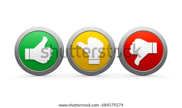 Positive, neutral and negative icons isolated on white background - represents customer satisfaction and feedback, three-dimensional rendering, 3D illustration