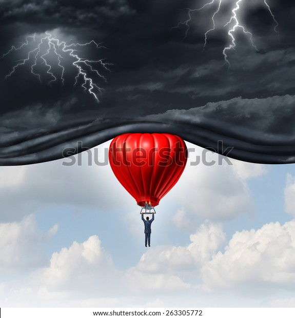 Positive outlook and recovery concept as a person or businessman riding a red hot air balloon lifting the dangerous dark stormy skies to reveal a blue sky as a mindset symbol.
