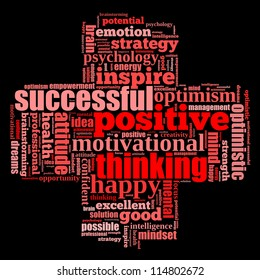 Positive thinking info-text graphics and arrangement concept (word clouds) on black blackground