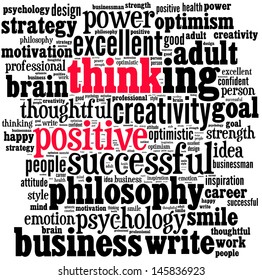 Positive thinking info-text graphics and arrangement concept (word cloud)