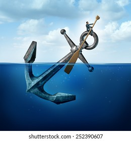 Positive thinking and resilience business concept with a person on a floating anchor rowing with a paddle as a symbol of moving forward despite restrictions and challenges.