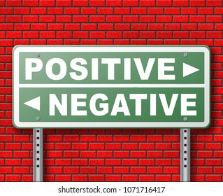 positive thinking or think negative positivity or negativity optimistic or pessimistic look at sunny side of life attitude road sign arrow 3D, illustration