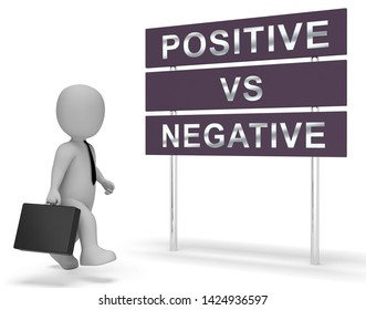Positive Vs Negative Sign Depicting Reflective State Of Mind. Motivation And Optimism Versus Pessimism - 3d Illustration