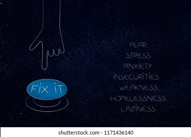 positivity and negativity conceptual illustration: list of feeling behind negative mindset with Fix It button next to it
