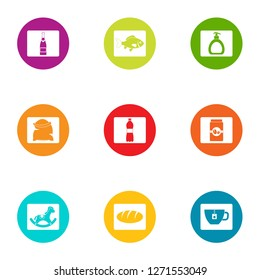 Possession icons set. Flat set of 9 possession icons for web isolated on white background