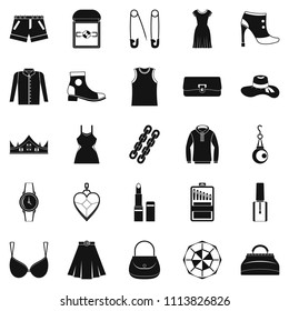 Possessions icons set. Simple set of 25 possessions icons for web isolated on white background
