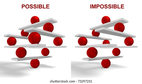 Possible and Impossible, Conceptual image of cooperation and teamwork.