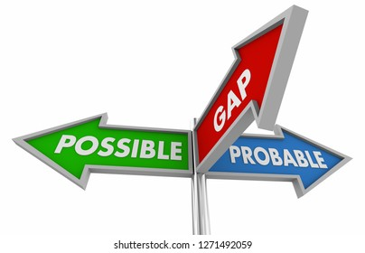 Possible and Plausible Actual Reality Bridge Gap Signs 3d Illustration