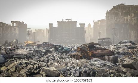 post Apocalypse, Ruins of a city. Apocalyptic landscape, 3d illustration.